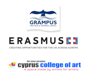 Logos of funders and support - Grampus, Erasmus and Cyprus College of Art